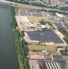 Plaza Foods: The production facility in Nijmegen, the Netherlands, from a bird's-eye view.